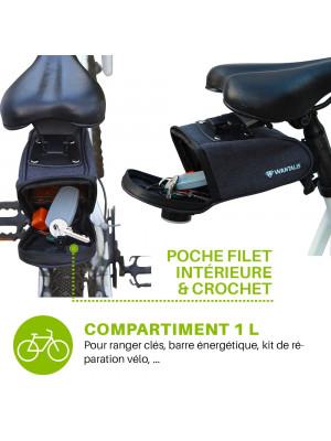 pochette de selle vélo, fermeture à zip et poche filet intérieure